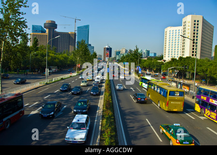 Beijing CHINA Highway Street Scene '3rd RIng Road' Dongsanhuan Beilu 'Chaoyang Area' Looking North Car Commuting - Stock Photo