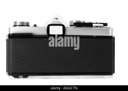 An old classic vintage 35mm camera shown in black and white from the back with film door closed - Stock Photo