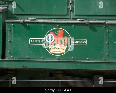 British Railways badge logo Bodmin Wenford Railway rolling stock Locomotive 08444 is a BR Class 08 Diesel shunter - Stock Photo