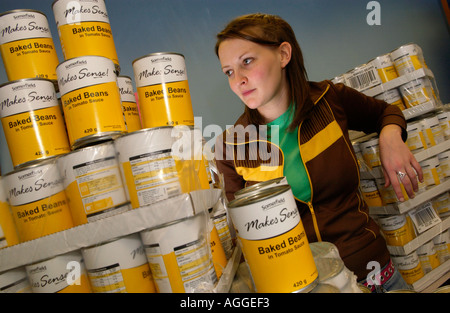 Tins of Somerfield baked beans that were given to poor students at Aberystwyth University Wales UK by the Students - Stock Photo