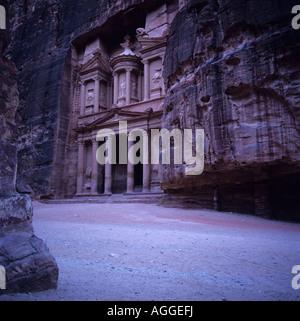 The Treasury (El-Khazneh) at dusk. Petra, Jordan. - Stock Photo