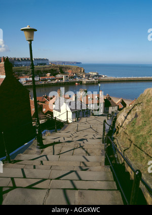 Looking down the East Cliff's flight of 199 steps, with harbour and North Sea beyond, Whitby, North Yorkshire, England, - Stock Photo