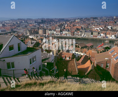View over the town from the East Cliff's flight of 199 steps, Whitby, North Yorkshire, England, UK - Stock Photo
