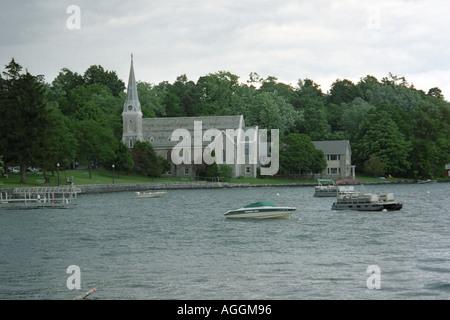 Lake Skaneateles in Skaneateles New York Finger Lakes NY USA - Stock Photo