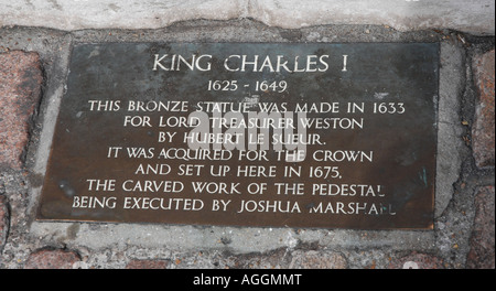 London England plaque on monument to King Charles 1 in Trafalgar Square - Stock Photo