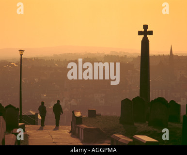 Evening view over Whitby from St Mary's Churchyard, North Yorkshire, England, UK - Stock Photo