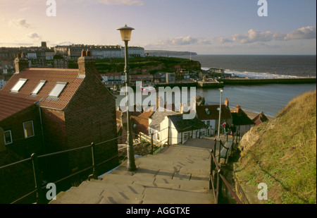Looking down the East Cliff's flight of 199 steps, Whitby, North Yorkshire, England, UK - Stock Photo