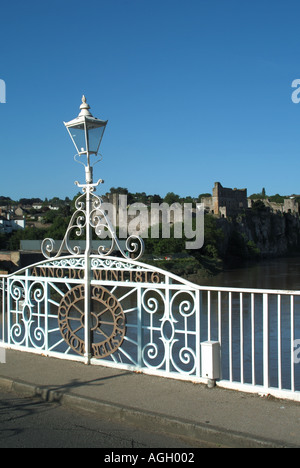 rnate lamp post marking boundary between England & Wales on the Old Wye Bridge at Chepstow crossing the River Wye - Stock Photo