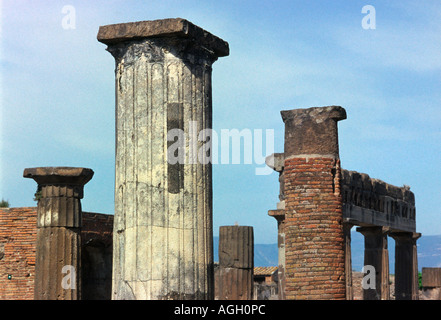 A variety of columns left in the ruins of Pompeii, Italy that was buried after a volcanic eruption of Mt Vesuvius - Stock Photo