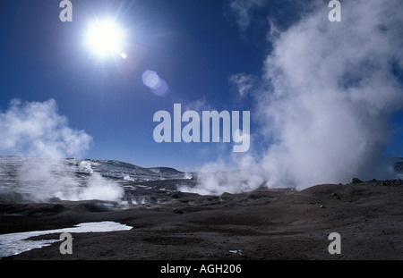 Sol de Mañana geysers 5000m steam fills the air Reserva Nacional Eduardo Avaroa Bolivia S America - Stock Photo