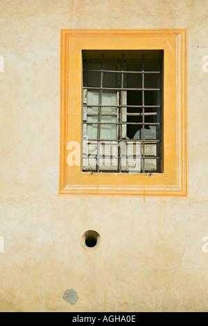 Framed window of Meseo Via Folgore Da San Gimignano, San Gimignano, Tuscany, Italy - Stock Photo