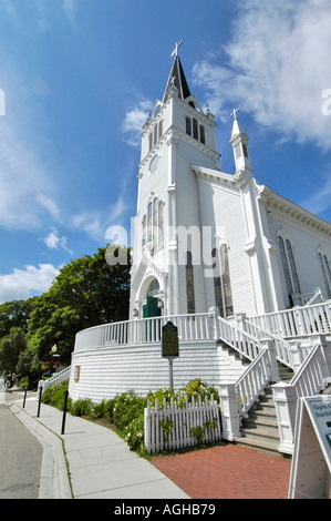 Sainte Anne Church on Mackinaw mackinac Island in Michigan between the Upper and Lower Peninsula in Lake Huron - Stock Photo