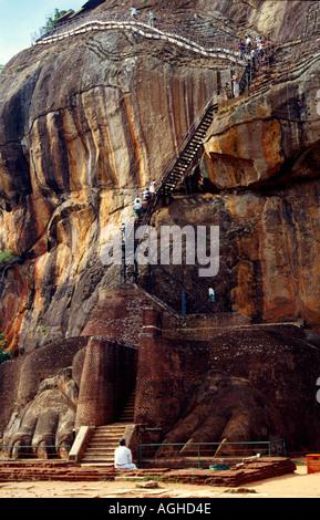Steps leading to the summit of the popular tourist destination of Sigiriya, Sri Lanka - Stock Photo