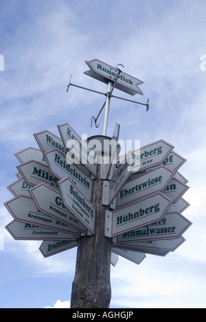 signboards to all directions, Germany, Thueringen, Rennsteig - Stock Photo