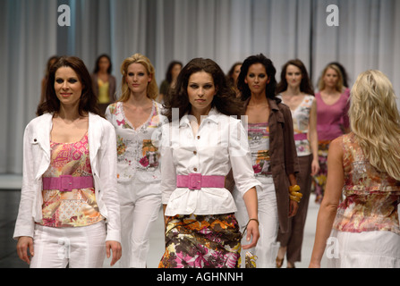 Models on the catwalk at the international fashion fair CPD in Duesseldorf, Germany - Stock Photo