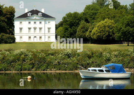 Marble Hill House and a boat Richmond Rd Twickenham, Surrey, UK - Stock Photo