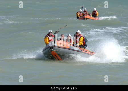 Eastbourne inshore Lifeboat crew on exercise in two rib inflatable rescue boats. Picture by Jim Holden. - Stock Photo