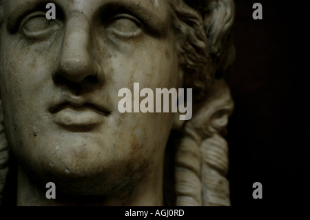 Sculpture at Petworth House a Roman adaptation of a Greek 4th century BC type Terminal bust of Apollo in the North - Stock Photo