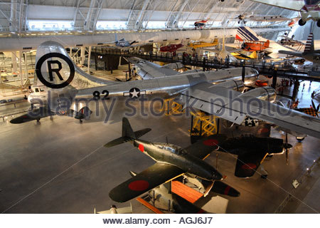 B-29 Enola Gay bomber and Aichi M6A1 Clear Sky Storm seaplane on display at the Udvar-Hazy Center - Stock Photo