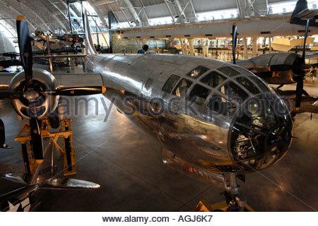 B-29 bomber Enola Gay on display at the Udvar-Hazy Center - Stock Photo