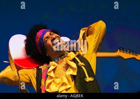 CARLTON POWARD plays Jimi Hendrix at the SUMMER OF LOVE FESTIVAL MONTEREY POP FESTIVAL 2007 CALIFORNIA - Stock Photo