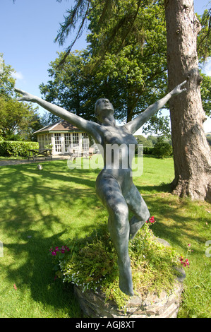 Rhosygilwen Country house mansion arts centre and concert hall Boncath Pembrokeshire west Wales - bronze statue - Stock Photo