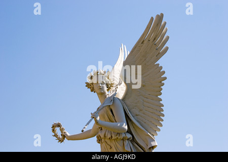 germany mecklenburg vorpommern angel figure in the palace garden of the palace of schwerin - Stock Photo