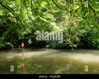 No entry traffic sign in the water Amboise France - Stock Photo