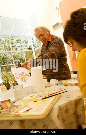 people at painting drawing art class at Rhosygilwen country mansion Boncath Pembrokeshire south west wales - Stock Photo