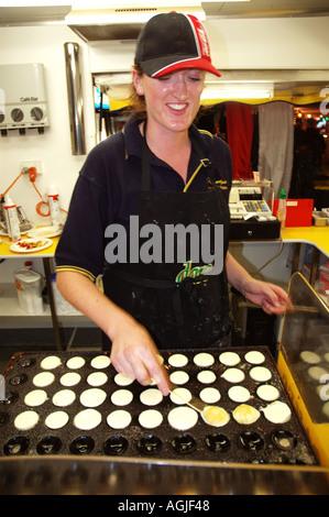 Traditional Poffertjes mini pancakes cooking a show fair dsc 2182 - Stock Photo