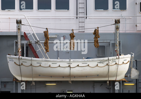 Lifeboat on ship at Lowestoft Suffolk England - Stock Photo