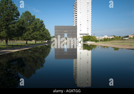 Reflection Pool and Gate at the Oklahoma City Bombing Memorial. Oklahoma City, Oklahoma, USA. - Stock Photo