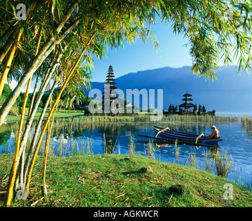 Ulu Danu Temple Lake Bratan Bali Indonesia - Stock Photo
