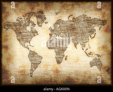map of world drawn onto old mottled paper or cloth - Stock Photo