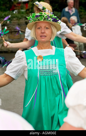 Buttercross Belles Morris dancers morris dancing at a Folk Festival in Yorkshire England UK - Stock Photo
