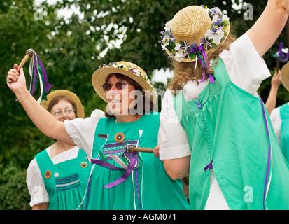 Buttercross Belles Morris at a Folk Festival Yorkshire England UK - Stock Photo