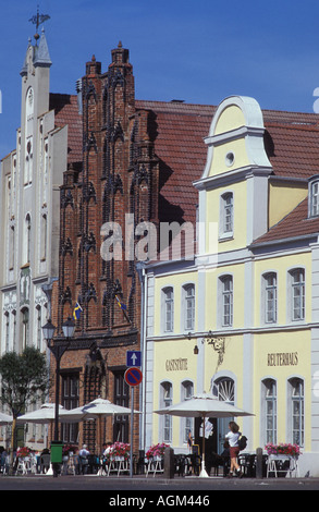 Famous bourgeois town houses at the market place of Wismar Mecklenburg West Pomerania - Stock Photo