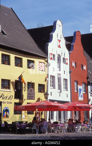 Pubs at the old harbour of Wismar Mecklenburg West Pomerania - Stock Photo