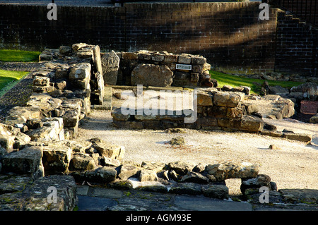 remains of Roman Baths showing warm air circulation ducts part of the Antonine Wall infrastructure Bearsden Scotland - Stock Photo