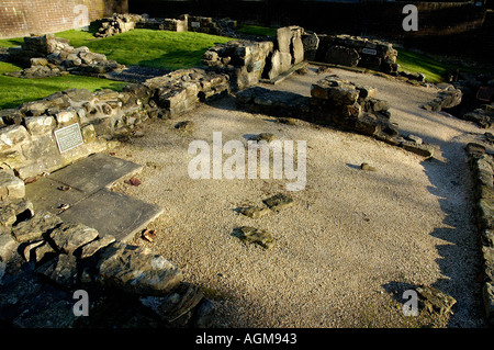 remains of the second warm room Roman Baths part of the Antonine Wall infrastructure Bearsden North Glasgow Scotland - Stock Photo