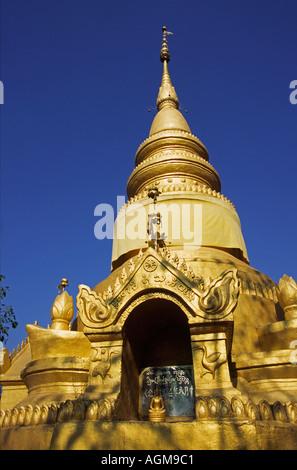 China Yunnan Xishuangbanna Gasa village temple pagoda - Stock Photo