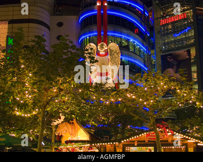 christmas lighting on the Christmas fair in the street Zeil in Frankfurt am Main Hesse Germany - Stock Photo
