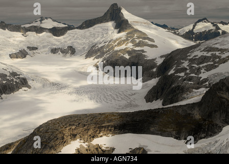 Aerial view of the Juneau Ice fields in Alaska in the USA - Stock Photo