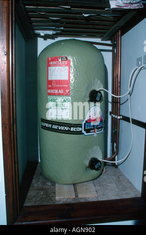 Hot Water Tank In Airing Cupboard Of A Modern British