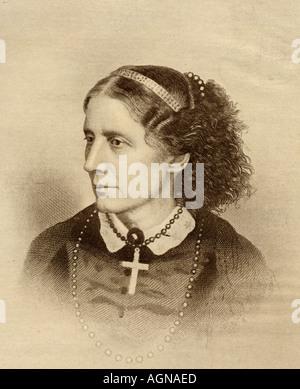 Harriet Elisabeth Beecher Stowe, 1811 - 1896.  American abolitionist and author. - Stock Photo