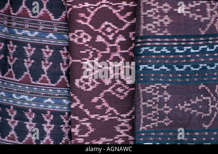 Detail of ikat decorated skirts from Flores Nusa Tengarra Indonesia Southeast Asia - Stock Photo