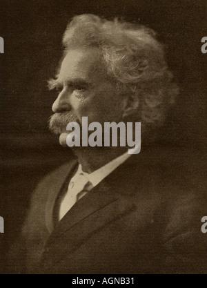 Mark Twain,  pseudonym of Samuel Langhorne Clemens, 1835 - 1910.  American writer and humorist. - Stock Photo