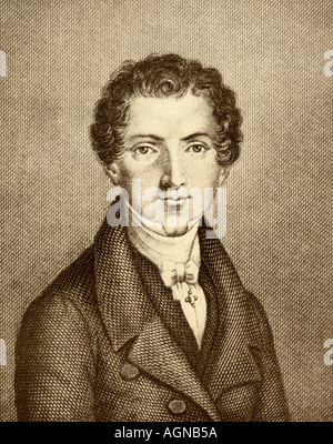 Wilhelm Hauff, 1802 - 1827. German poet and novelist.  From the book The Masterpiece Library of Short Stories, Old - Stock Photo