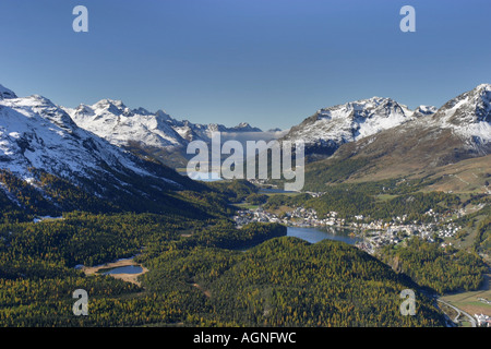 View from Muottas Muragl towards the Engadin lakes and the main valley of the Oberengadin. In the background the - Stock Photo