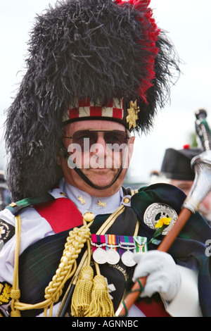 Drum Major Phil Bowater 42nd 42 Highlander Regimental Pipes Drums from RMS Queen Mary Long Beach California Pipefest - Stock Photo